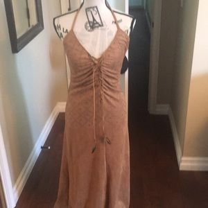 Sky long dress in a brown faux shade look new sz.L